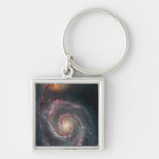 Whirlpool galaxy Silver-Colored square key ring