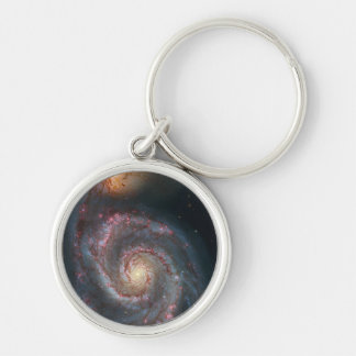 Whirlpool galaxy Silver-Colored round key ring
