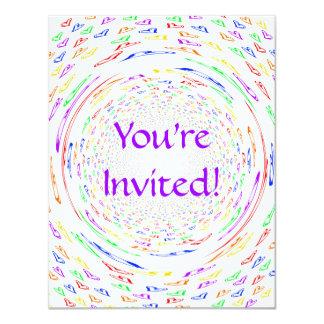 "Whirlpool Hearts 4.25"" X 5.5"" Invitation Card"
