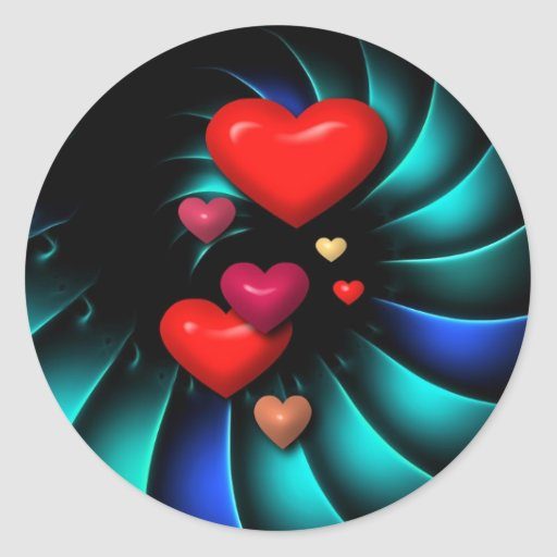 Whirlwind Romance Romantic Sweethearts Round Stickers