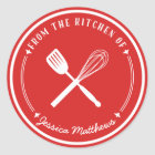 Whisk Spatula Personalised Red Kitchen Stickers