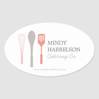 WHISK SPOON SPATULA LOGO II for Bakery, Catering Oval Sticker