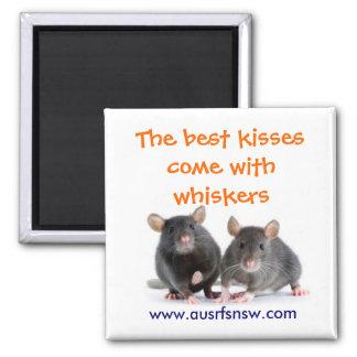 Whisker Kisses (rat) Square Magnet
