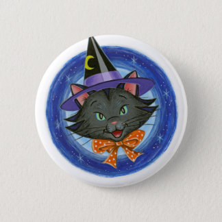 Whiskers the Halloween Cat Button
