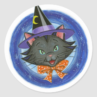 Whiskers the Halloween Cat: Classic Round Sticker