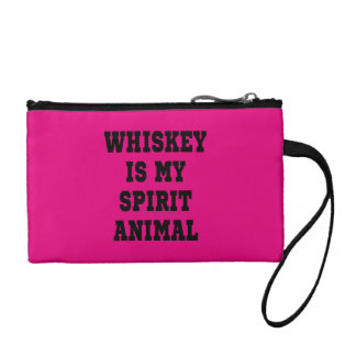 WHISKEY IS MY SPIRIT ANIMAL ZIP POUCH COIN WALLET