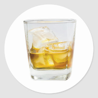 Whiskey on the rocks round sticker