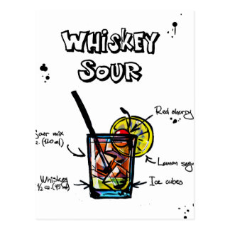 Whiskey Sour Cocktail  Recipe Postcard