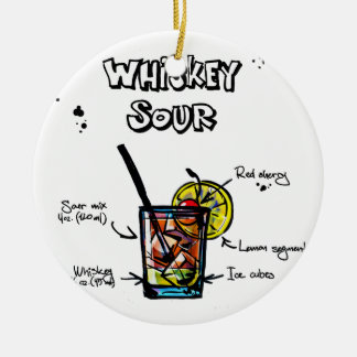 Whiskey Sour Cocktail  Recipe Round Ceramic Decoration