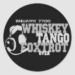 Whiskey Tango Foxtrot - Aviation Humour Round Sticker