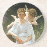 Whisperings of Love, William Adolphe Bouguereau Beverage Coaster