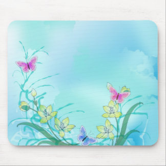 Whispy blue with flowers and butterflies mouse pad