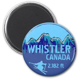 Whistler Canada blue ski art magnet