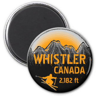 Whistler Canada orange ski art magnet