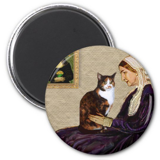 Whistlers Mother - Calico cat 6 Cm Round Magnet