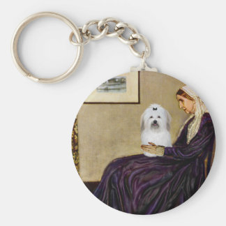 Whistlers Mother - Coton de Tulear 2 Basic Round Button Key Ring