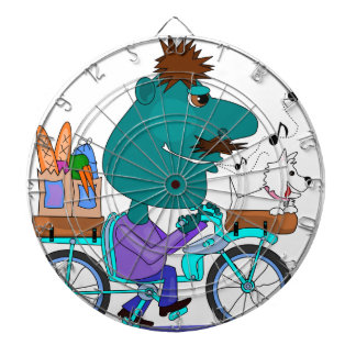 Whistling bicycle rider dart boards