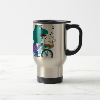 Whistling bicycle rider stainless steel travel mug