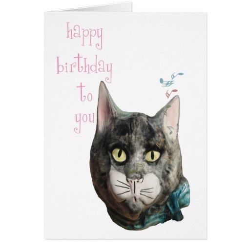 Whistling Cat Happy Birthday Card
