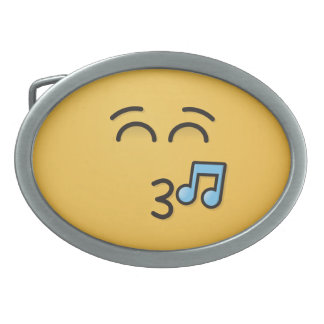 Whistling Face with Smiling Eyes Oval Belt Buckle