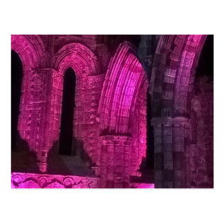Whitby Abbey beautiful Gothic magenta arches Postcard