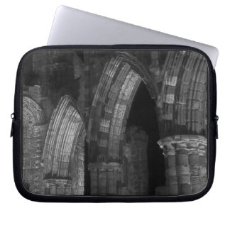 Whitby abbey Gothic arches black and white Laptop Sleeve