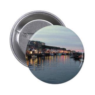 Whitby at dusk 6 cm round badge