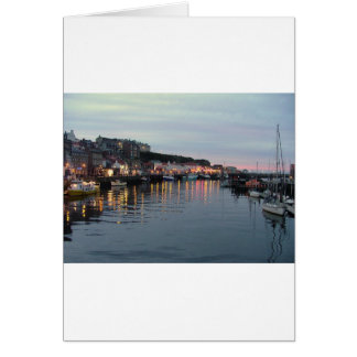 Whitby at dusk greeting cards