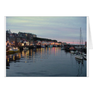 Whitby at dusk greeting card