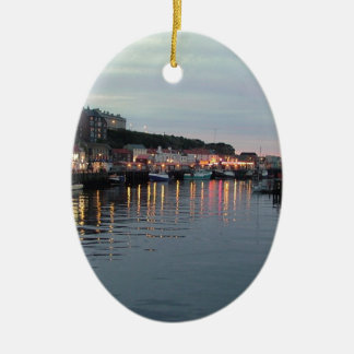 Whitby at dusk ceramic oval decoration