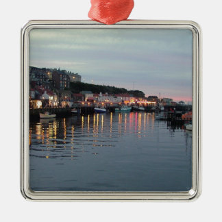 Whitby at dusk Silver-Colored square decoration