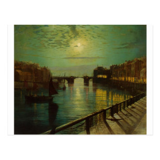 Whitby Harbor by Moonlight John Atkinson Grimshaw Postcard