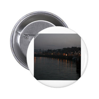 Whitby harbour at night 6 cm round badge