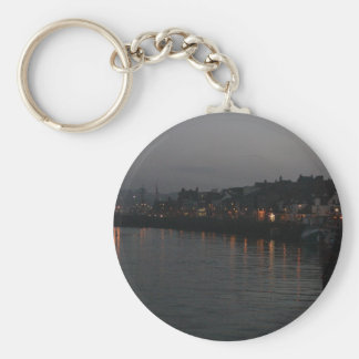 Whitby harbour at night basic round button key ring