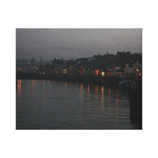 Whitby Harbour at night Canvas Print
