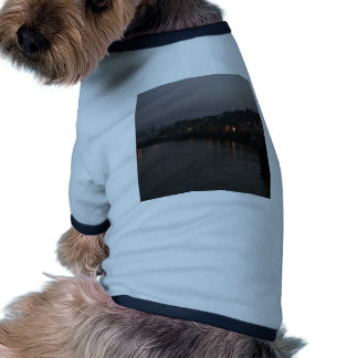 Whitby harbour at night dog tee shirt