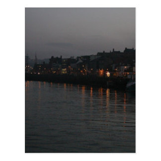 Whitby harbour at night postcard