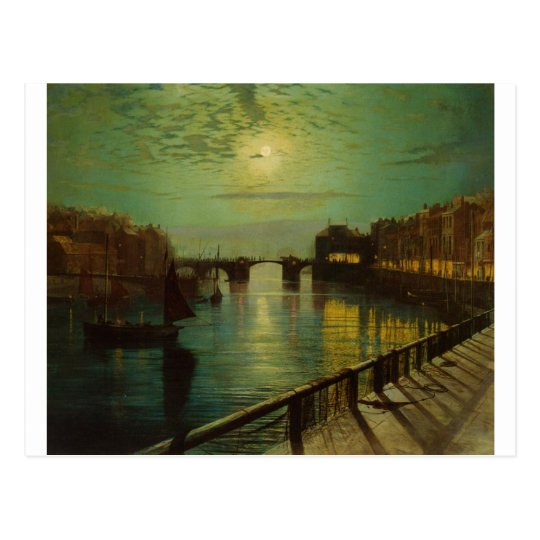 Whitby Harbour by Moonlight John Atkinson Grimshaw Postcard