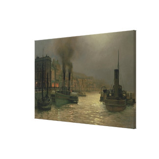 Whitby Harbour - Night, 1899 (oil on canvas) Canvas Print