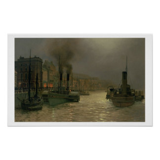 Whitby Harbour - Night, 1899 (oil on canvas) Poster