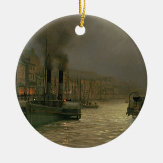 Whitby Harbour - Night, 1899 (oil on canvas) Round Ceramic Decoration