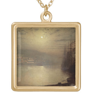 Whitby (oil on canvas) gold plated necklace