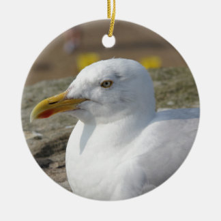 Whitby Seagull Round Ceramic Decoration