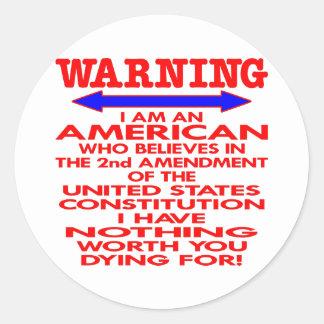 White 2nd Amendment American Classic Round Sticker