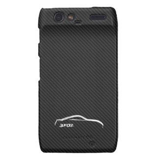 White 350Z Logo with Faux Carbon FIber Background Droid RAZR Cases