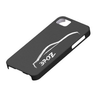 White 370Z Logo with Faux Carbon FIber Background iPhone 5 Cover