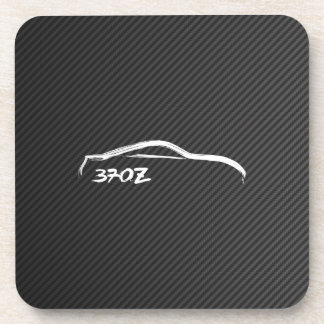 White 370Z Silhouette with Faux Carbon Beverage Coasters