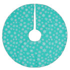 White 3-d snowflakes on a turquoise background brushed polyester tree skirt