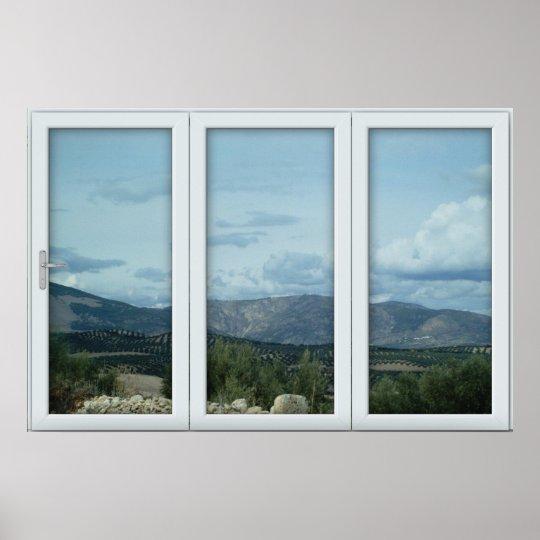 White 3 Pane Window Illusion Country and Mountains