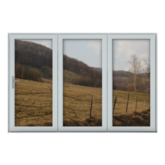 White 3 Pane Window Illusion Country Autumn Poster
